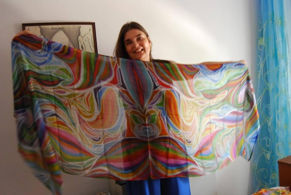 Lenço Bright Colors inspirado na minha pintura A Outra Luz