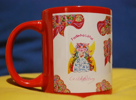 Rose mug with the Little Fairy  Lotus symbol and with the author's signature
